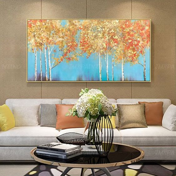 how to decorate a big wall in a living room